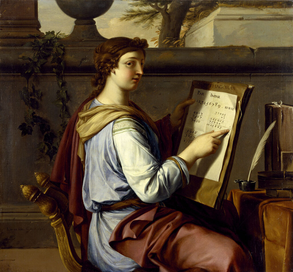 Allegory of Arithmetic by Laurent de la Hyre.  Arithmetic holds a book with the name of Pythagoras on the cover. Over the book, Arithmetic has a worksheet with various arithmetic operations.